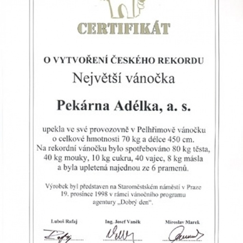 Certifikát Největší vánočka