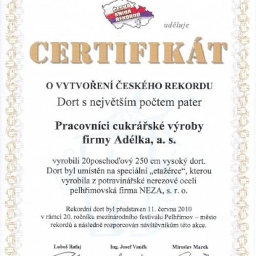Certifikát Dort s největším počtem pater