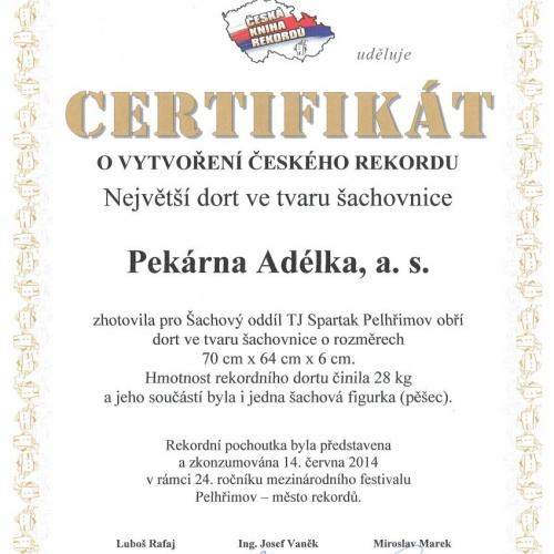 Certifikát Největší dort ve tvaru šachovnice